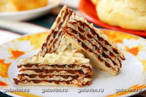 Торт вафельный с кремом из вареной сгущенки с какао