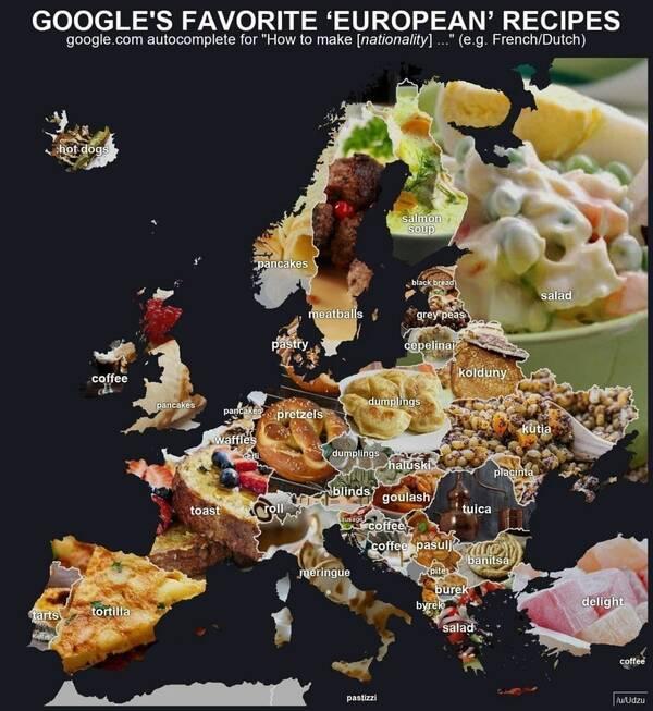 Составлена карта кулинарной Европы на основе интернет-запросов