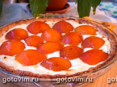 Пирог с абрикосами и творожной начинкой. Фотография рецепта