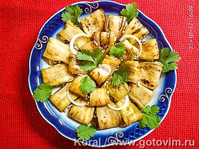 Фотография рецепта Баклажаны, жареные с соусом сациви
