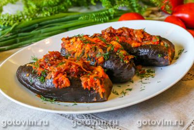 Битый баклажан, фаршированный мясом