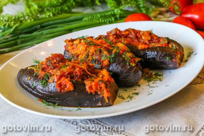Битый баклажан, фаршированный мясом. Фотография рецепта
