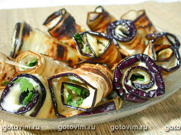 Баклажаны рулетиками с сыром и чесноком рецепт