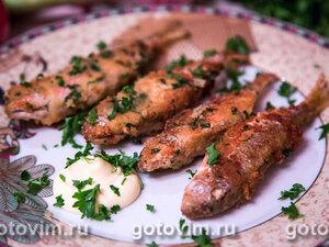 Барабулька в панировке из хлебных крошек, пармезана и зелени