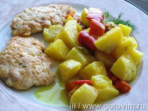 Батат, тушеный с перцем, лимоном и карри