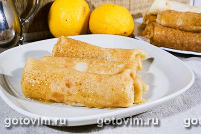 Блины с лимонным курдом. Фотография рецепта