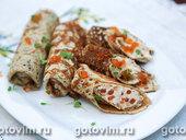 Закусочные блины с паштетом из форели и красной икры