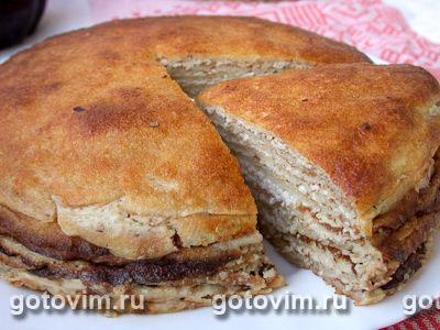 Блинчатый пирог с творожно-ореховой начинкой