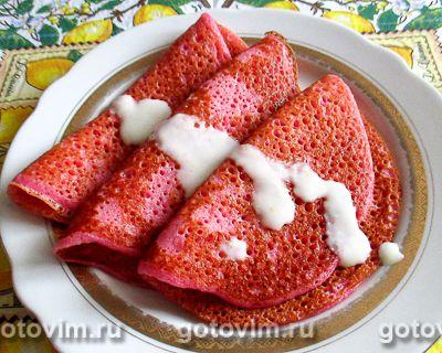 Дрожжевые блинчики на свекольном отваре со сладким цитрусовым соусом