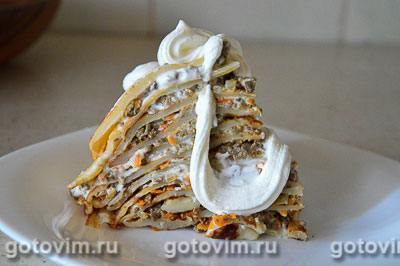 Фотография рецепта Блинный пирог с печенкой
