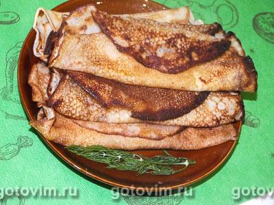 Блины с сыром и чесноком. Фотография рецепта