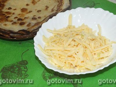 Блины с сыром и чесноком, Шаг 04