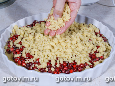 песочный пирог с яблоками и брусникой рецепт