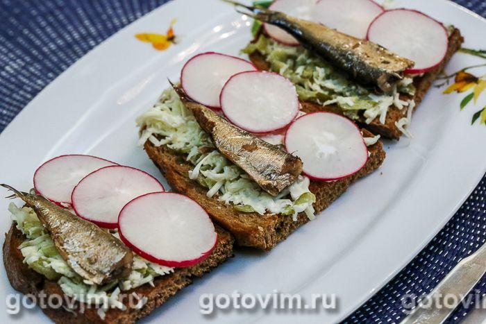 Норвежский бутерброд со шпротами и редиской. Фотография рецепта