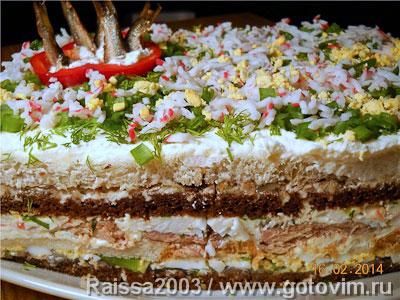 Бутербродный торт с рыбой. Фотография рецепта