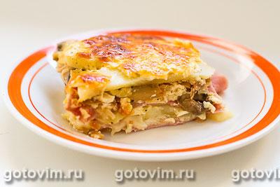 Фотография рецепта Картофельная запеканка с ветчиной, грибами и сыром