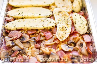 Картофельная запеканка с ветчиной, грибами и сыром, Шаг 07