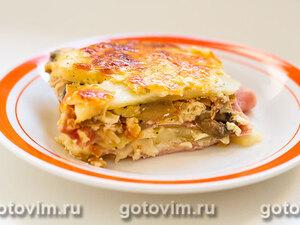 Картофельная запеканка с ветчиной, грибами и сыром