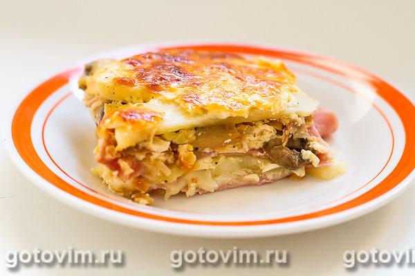 Картофельная запеканка с грибами и ветчиной