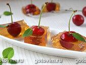 Десерт вишня в винном желе