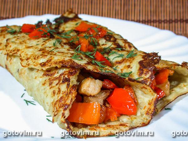 Картофельные блины с мясной начинкой. Фотография рецепта