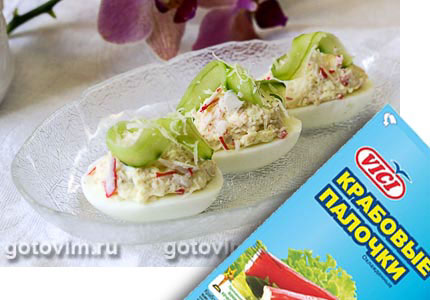 Фотография рецепта Яйца, фаршированные крабовыми палочками VIČI
