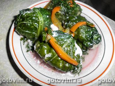 Долма в горчичных листьях. Фотография рецепта