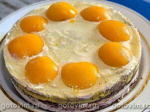 Торт из фасоли и орехов с кремом из рикотты и апельсиновым курдом