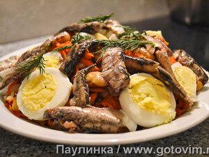 Теплый фасолевый салат со шпротами