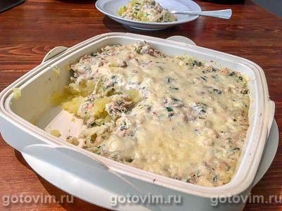 Рыбная запеканка с картофелем, креветками и сметаной
