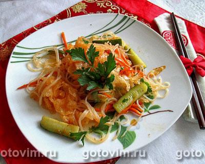 Фотография рецепта Фунчоза с белыми китайскими древесными грибами