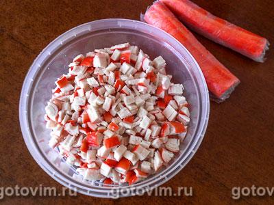 Поповеры с салатом из крабовых палочек, Шаг 04