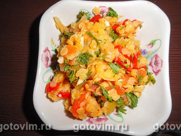 Каша из чечевицы с овощами. Фотография рецепта