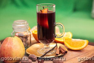 Глинтвейн с яблоками и апельсинами. Фотография рецепта