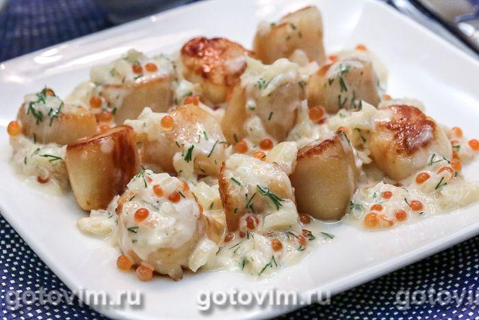 Сибас в сливочном соусе с красной икрой и шампанским рецепт #2
