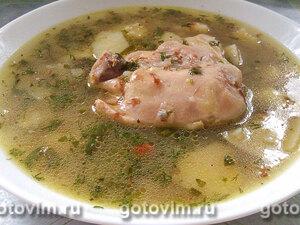 Гречневый суп с курицей и зеленым луком в мультиварке