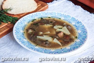 Куриный суп с грибами и галушками. Фотография рецепта