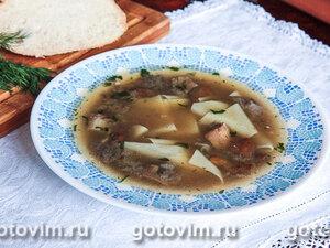 Куриный суп с грибами и галушками