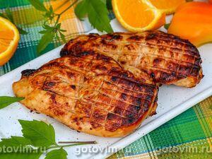 Куриная грудка на решетке гриль в маринаде с апельсином и чили