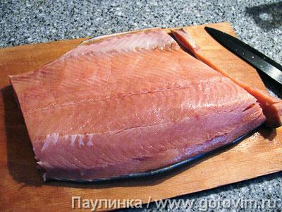 Запеканка из красной рыбы с хлебом и сырным соусом., Шаг 03