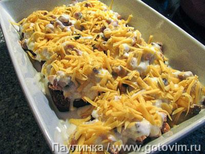 Запеканка из красной рыбы с хлебом и сырным соусом., Шаг 05