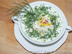 Холодный огуречный суп с йогуртом