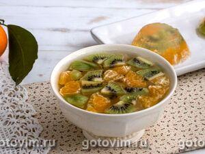 Имбирно-лимонное желе с фруктами (на агаре)