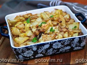 Запеканка из индейки с грибами и картофелем в горчичном соусе