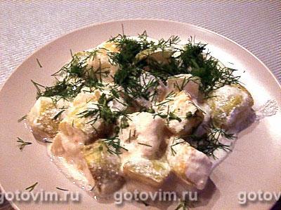 Кабачки, запеченные со сметаной. Фотография рецепта