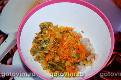 Кальмары, фаршированные грибами с сыром, Шаг 04