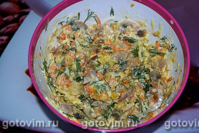 Кальмары, фаршированные грибами с сыром, Шаг 07