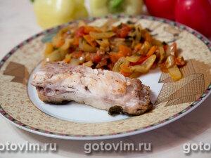 Жареная черноморская камбала калкан с овощами