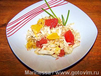 Капустный салат с цитрусами. Фотография рецепта