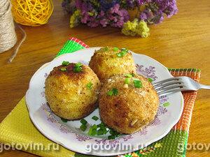 Картофельные крокеты с начинкой из шпрот, яйца и зеленого лука